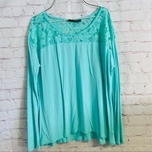 a.n.a. Lace shoulder turquoise long sleeve shirt